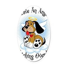 Angel-Watching-Over-Me-Dog Oval Car Magnet