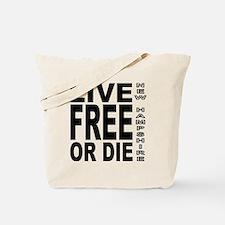 LiveFreeorDieBlack Tote Bag