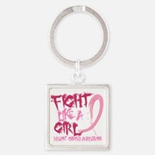 - Breast Cancer Fight Like a Girl Square Keychain