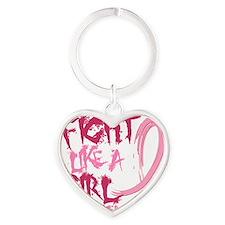 - Breast Cancer Fight Like a Girl Heart Keychain