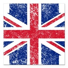 "Brit Flag Btn1 Square Car Magnet 3"" x 3"""