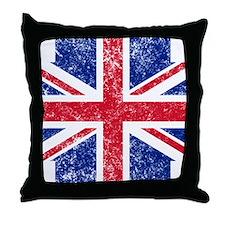 Brit Flag Btn1 Throw Pillow