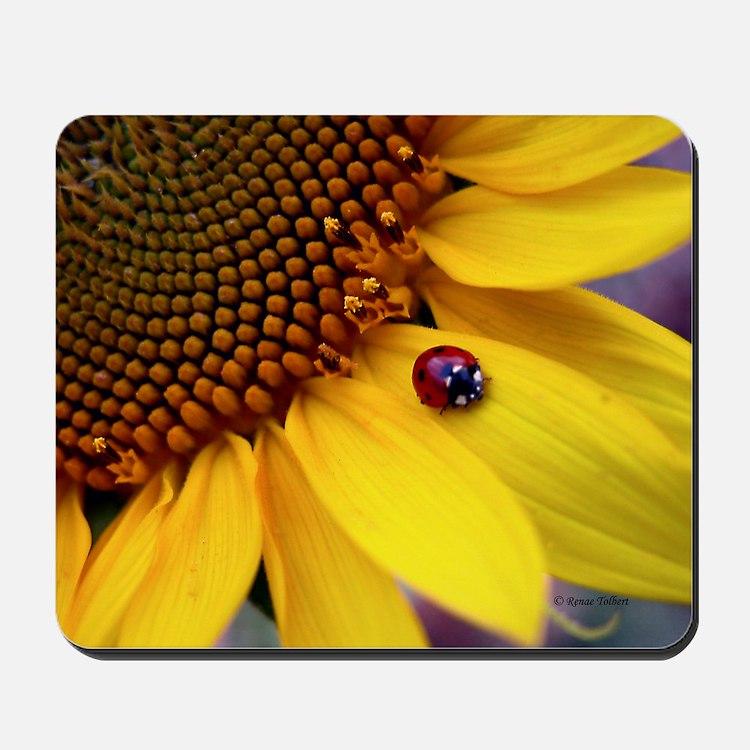 Ladybug on Sunflower Petal Mousepad