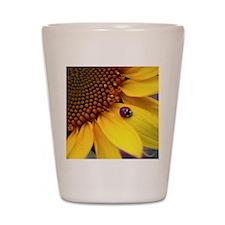 Ladybug on Sunflower Petal Shot Glass