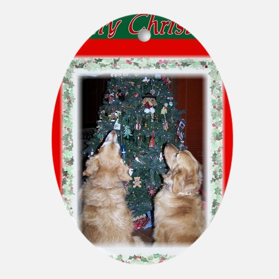 Lucy and Remington christmas ca Oval Ornament