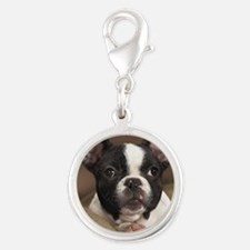 F pup panel print Silver Round Charm
