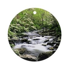 Smokey Mountains river and dogwoods Round Ornament