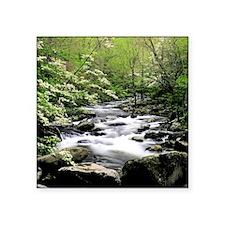 "Smokey Mountains river and  Square Sticker 3"" x 3"""