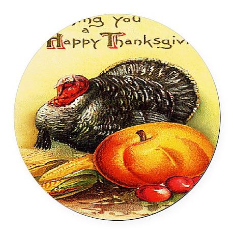 turkey_w_pumpkin_card Round Car Magnet