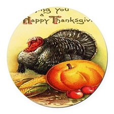 turkey_w_pumpkin_card Round Car Magnet
