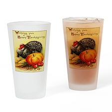 turkey_w_pumpkin_card Drinking Glass