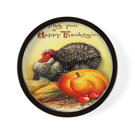 turkey_w_pumpkin_card Wall Clock