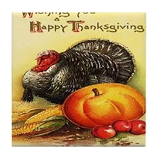 turkey_w_pumpkin_card Tile Coaster