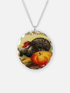 turkey_w_pumpkin_card Necklace
