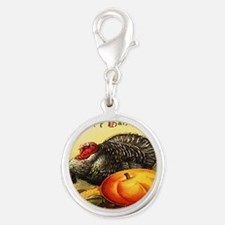 turkey_w_pumpkin_card Silver Round Charm