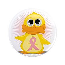 """Peach-Ribbon-Duck 3.5"""" Button"""