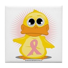 Peach-Ribbon-Duck Tile Coaster
