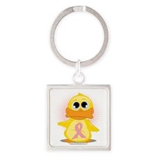 Peach-Ribbon-Duck Square Keychain
