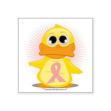 """Peach-Ribbon-Duck Square Sticker 3"""" x 3"""""""