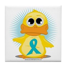 New-Teal-Ribbon-Duck Tile Coaster