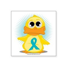 "New-Teal-Ribbon-Duck Square Sticker 3"" x 3"""