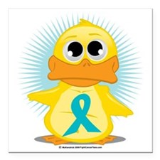 """New-Teal-Ribbon-Duck Square Car Magnet 3"""" x 3"""""""