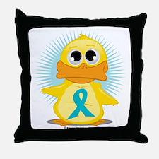 New-Teal-Ribbon-Duck Throw Pillow