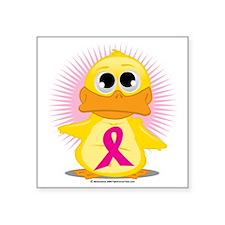 """Magenta-Ribbon-Duck Square Sticker 3"""" x 3"""""""