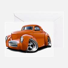1941 Willys Orange Car Greeting Card
