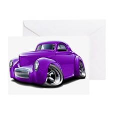1941 Willys Purple Car Greeting Card