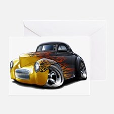 1941 Willys Black-Flames Car Greeting Card