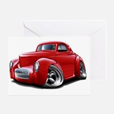 1941 Willys Red Car Greeting Card