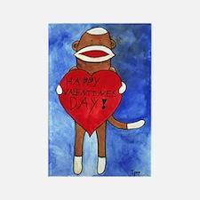 Sock Monkey Valentine by Step Rectangle Magnet