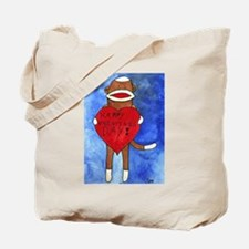 Sock Monkey Valentine by Step Tote Bag