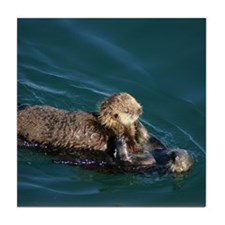 Mother Otter & Pup Tile Coaster