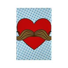 moustache-heart_3g Rectangle Magnet