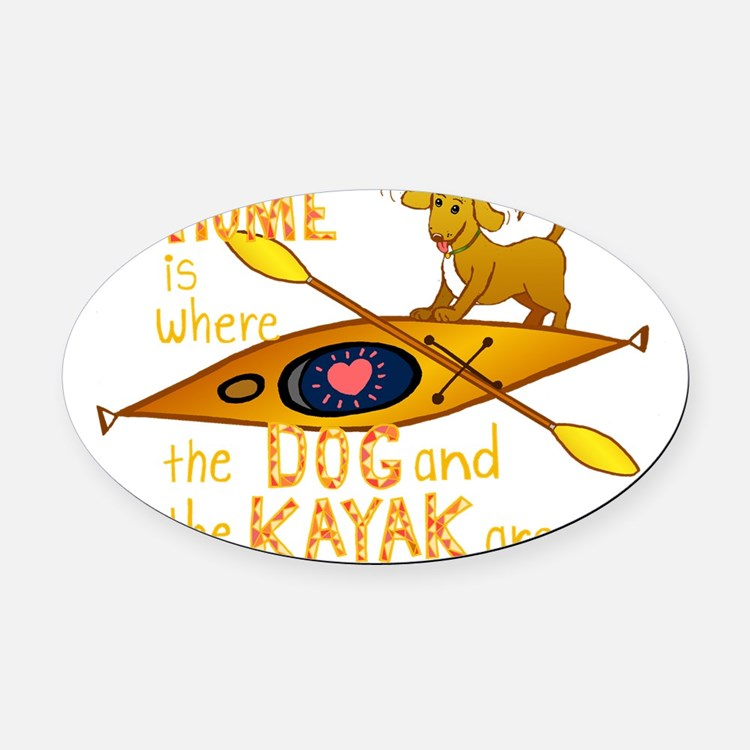 HOMEkayakDOGdark Oval Car Magnet