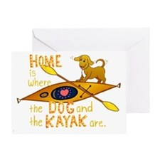 HOMEkayakDOGdark Greeting Card