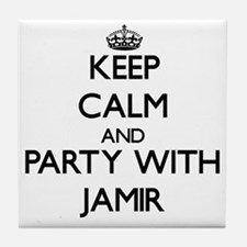 Keep Calm and Party with Jamir Tile Coaster