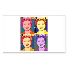 Hillary Clinton Pop Art 4 Rectangle Decal