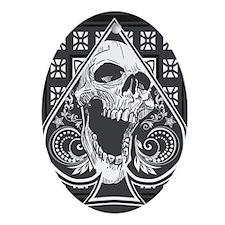 skullspade3G Oval Ornament