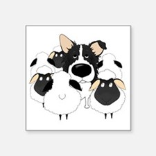 "BorderCollieHerdingDark Square Sticker 3"" x 3"""