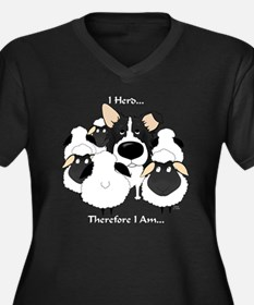 BorderCollie Women's Plus Size Dark V-Neck T-Shirt