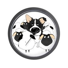 BorderCollieHerdingDark Wall Clock