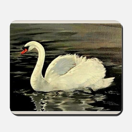 Tile Swan (Cream) x 2 Mousepad
