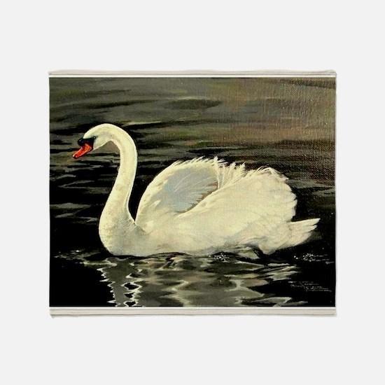 Tile Swan (Cream) x 2 Throw Blanket