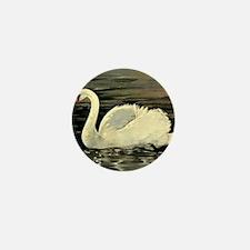 Tile Swan (Cream) x 2 Mini Button