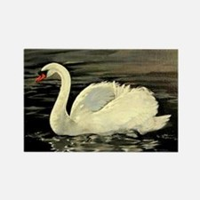 Tile Swan (Cream) x 2 Rectangle Magnet