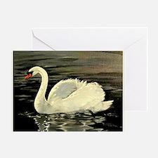 Tile Swan (Cream) x 2 Greeting Card