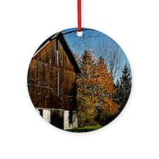 Brown Barn Round Ornament